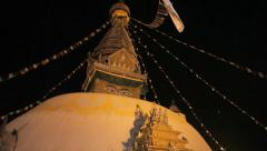 HD: Swayambhunath Temple or the Monkey Temple against the dark night sky. Stock Footage