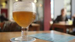 Beer in pub in Belgium - stock footage
