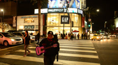 Hollywood Blvd at Night Stock Footage