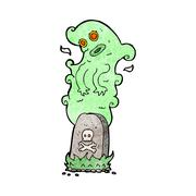 Stock Illustration of cartoon ghost rising from grave