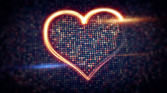 Light streaks heart shape loopable Stock Footage