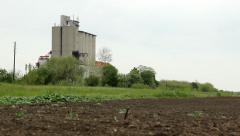 Silos tank in the big agricultural farm Stock Footage