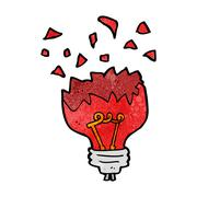 cartoon red light bulb exploding - stock illustration