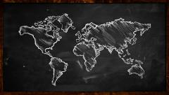 World Chalk Sketch on Blackboard Looping Animation - stock footage