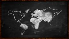 World sketch White painting on Blackboard Looping Animation Stock Footage