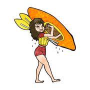 Stock Illustration of cartoon woman carrying canoe
