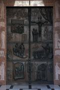 Door Basilica of the Annunciation in Nazareth Stock Photos