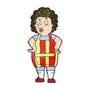Stock Illustration of cartoon woman in kitchen apron