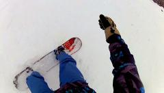 First person view: snowboarder on skislope pov Stock Footage