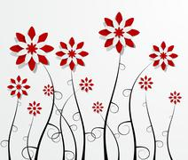 Stock Illustration of Decorative Red Flowers
