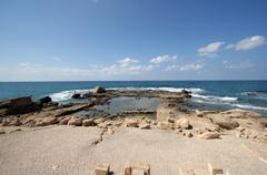National park Caesarea on coast of Mediterranean sea in Israel - stock photo