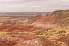 Red desert on a cloudy day Stock Photos