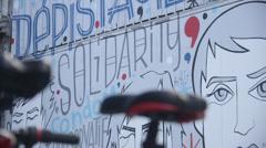 Graffiti mural in Brussels - solidarity Stock Footage