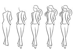 sequence of drawing a beautiful female contour - stock illustration