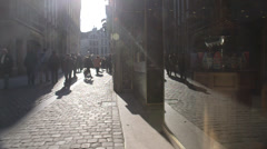 Old Market street in Brussels Stock Footage