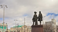 Founders of Yekaterinburg Tatischev V. and W. de Genin. Russia. Time Lapse. Stock Footage