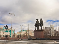 Monument to the founders of the city. Panorama. Yekaterinburg Russia. Time Stock Footage