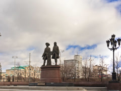 Monument Tatischev and De Genin. Panorama. Yekaterinburg, Russia. Time Lapse. Stock Footage