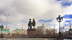 Monument Tatischev and De Genin. Panorama. Yekaterinburg, Russia. Time Lapse Stock Footage