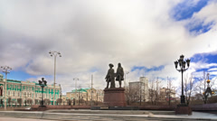 Monument to the founders of the city. Yekaterinburg Russia. Time Lapse. 1280x720 Stock Footage