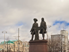 Monument Tatischev and De Genin. Zoom. Yekaterinburg, Russia. Time Lapse. Stock Footage