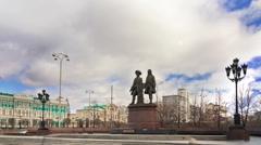 Vasily Tatischevv and Wilhelm de Genin. Zoom. Yekaterinburg, Russia. Time Lapse Stock Footage