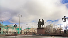 Monument Tatischev and De Genin. Yekaterinburg Russia. Time Lapse. 4K Stock Footage
