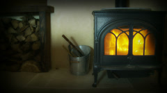 Cold winter month, cottage fire dolly Stock Footage