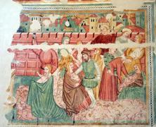 Fresco paintings in the old church Stock Photos