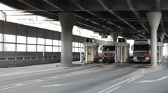 Western High-Speed Diameter tollway with fee booth in Saint-Petersburg, Russia Stock Footage