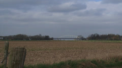 DOESBURG IJssel bridge + pan river foreland - skyline hanseatic town Stock Footage