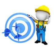 Stock Illustration of white people as plumber with archery target