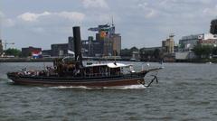 Rhine Steam tugboat Pieter Boele (1893) cruising Nieuwe Waterweg ROTTERDAM Stock Footage