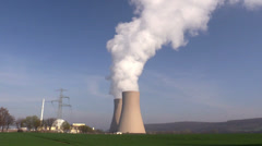 Nuclear station against the blue sky - stock footage