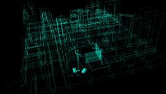 architectural blueprint of contemporary buildings wireframe hd - stock footage