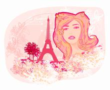beautiful girl portrait with tour eiffel tower on the background - stock illustration