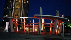 Uptown Dallas Trolley Station at night Stock Footage