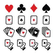 Playing cards, poker, gambling icons set - stock illustration