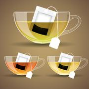 Set of glass cup with tea Stock Illustration