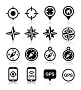 GPS navigation, wind rose, compass icons set Stock Illustration