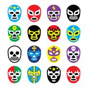 Lucha libre Mexican wrestling masks icons - stock illustration