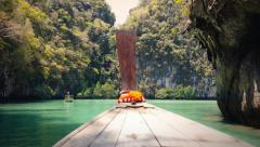 Boat in laguna. Thailand travel background landscape Stock Footage