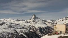 Ski Paradise Matterhorn glacier panorama Stock Footage