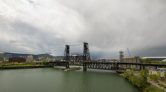 Steel Bridge with Moving Clouds Timelapse in Portland Oregon Stock Footage