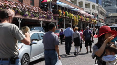 people walking at Seattle public market - pike street 2 - stock footage