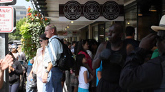 original Starbucks on pike st - performers & tourists - stock footage