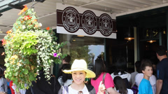 original Starbucks on pike st - tourists outside - stock footage