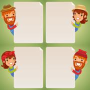 farmers cartoon characters looking at blank poster set - stock illustration