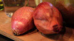 Rack focus of Shallots Stock Footage