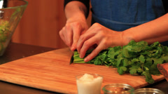 Chef Cutting Cilantro - stock footage